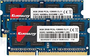KUESUNY 16GB Kit (8GBX2) DDR3L-1600 Sodimm RAM, PC3L-12800/PC3L-12800s Memory 204 Pin 1.35V/1.5V CL11 Non-ECC Unbuffered 2RX8 Dual Rank for Laptop Notebook Computer-Blue
