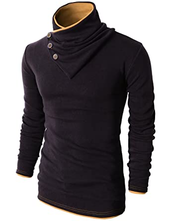 H2H Mens Fashion Turtleneck Slim Fit Pullover Sweater Oblique Line ...