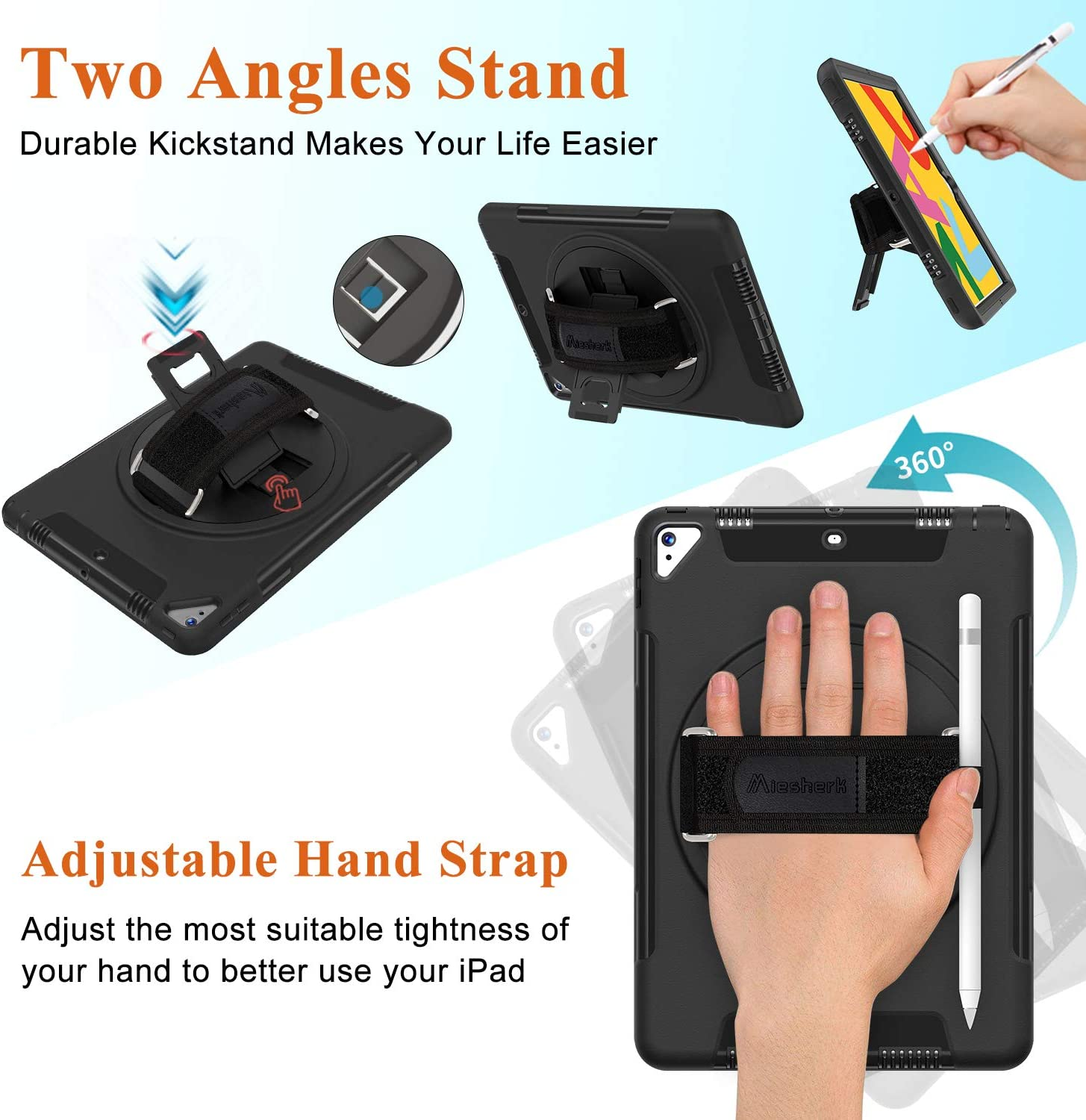"""Miesherk iPad 7th Generation Case 360 Rotatable Stand Adjustable/Strap Black Shockproof Case for iPad 7th Gen Case 10.2// iPad Air 3//Pro 10.5/"""" 2017//2019 iPad 10.2 Case 2019 with Pencil Holder"""