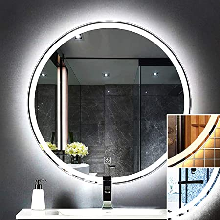 Espejos de pared Espejo de baño iluminado con luz LED moderno, con espejo táctil Espejo de