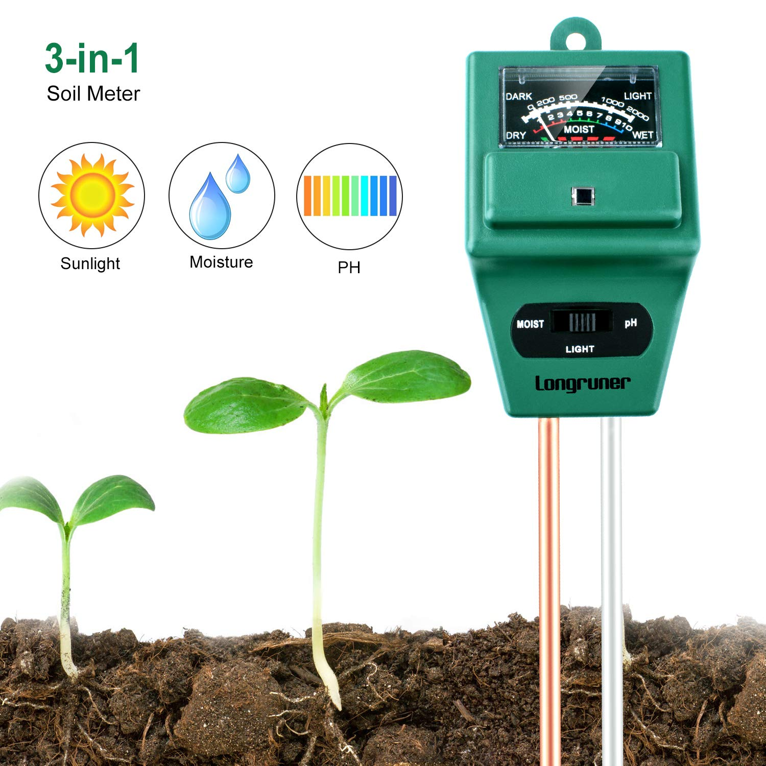 Longruner Soil Moisture PH Meter, 3-in-1 Plant Moisture Sensor Meter/Light/PH Tester for Home, Garden, Lawn, Farm, Indoor/Outdoor(No Battery Needed) LKP03