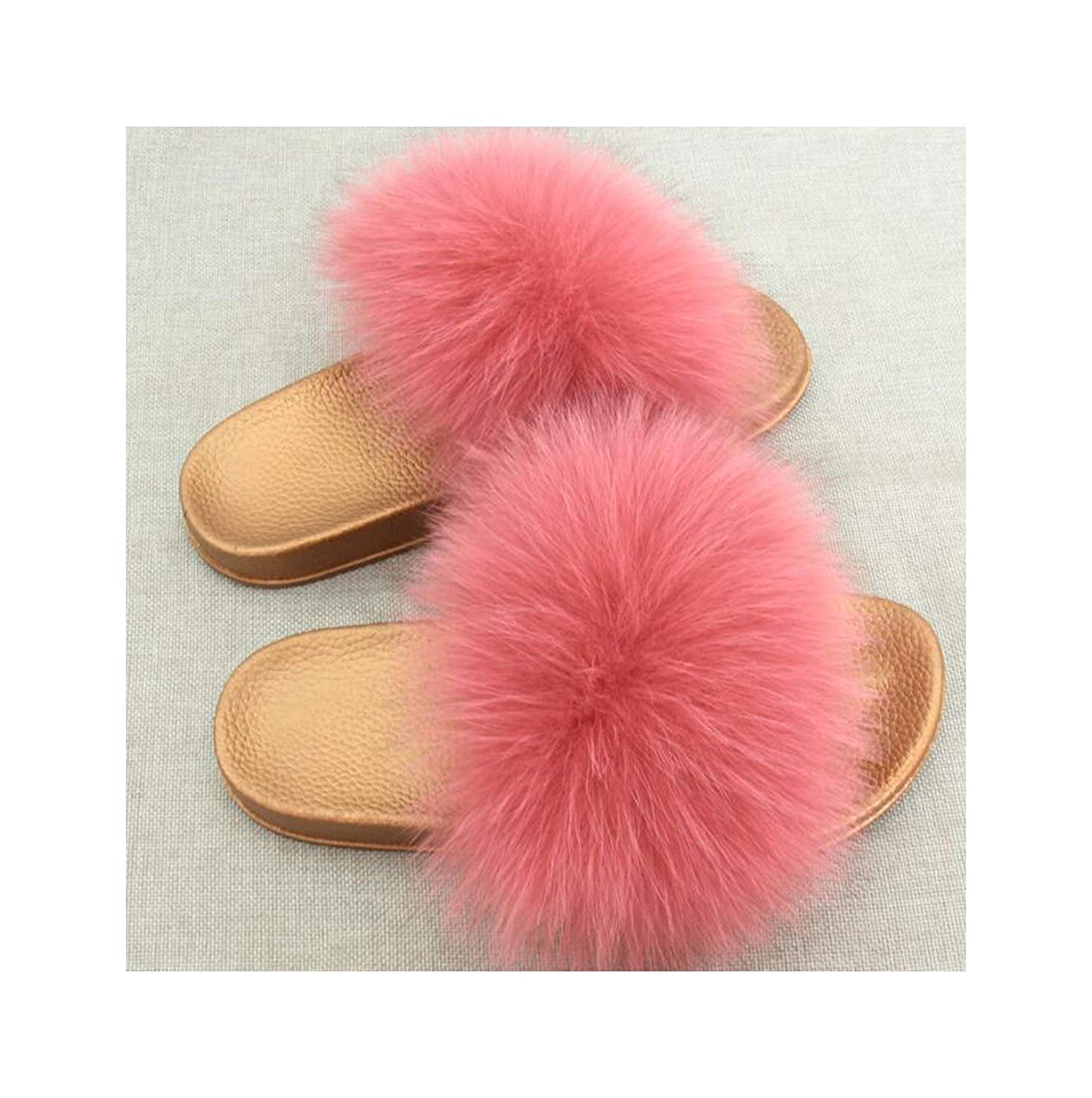 2 Zalin Women's Summer Genuine Fox Fur Slippers PVC Flat Indoor Non-Slip Slippers Furry Slippers