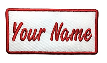 Custom embroidered name patch, Uniform Name Tag, Personalized Label / Iron  on/ Sew