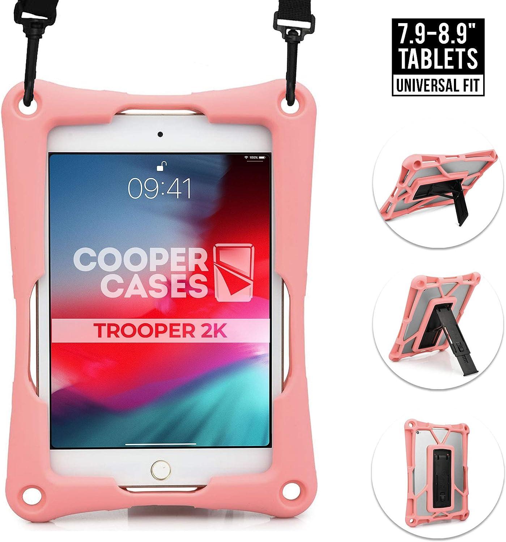 "Cooper Trooper 2K Rugged Case for 7.9-8.9"" Tablet | Tough Bumper Protective Drop Shock Proof Kids Holder Carrying Cover Bag, Stand, Hand Strap (Pink)"