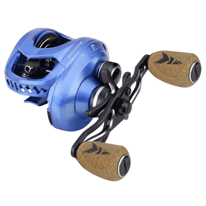 KastKing MegaJaws Baitcasting Reel,6.5:1 Gear Ratio,Left Handed Reel,Pelagic Blue