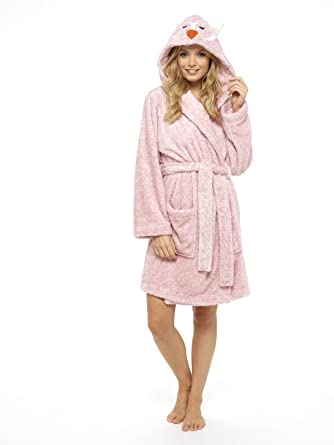 Ladies Dressing Gown Penguin Owl Luxury Womens Gowns Plush Robe ...