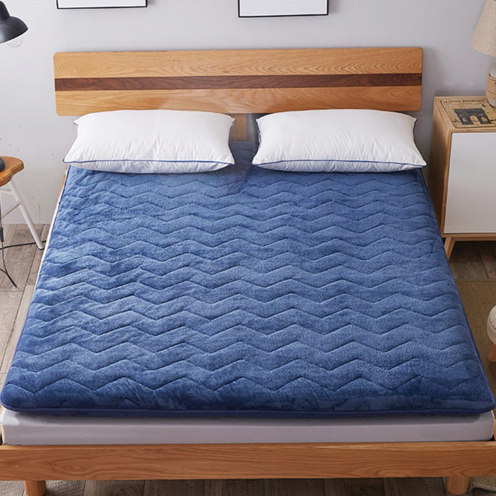 Bedroom mattress tatami mat bed pad flannel fabric fold-Able anti-Skidding 4.0Cm thick [Individual] [Double] For livingroom student dormitory tents-D 180x200cm(71x79inch)