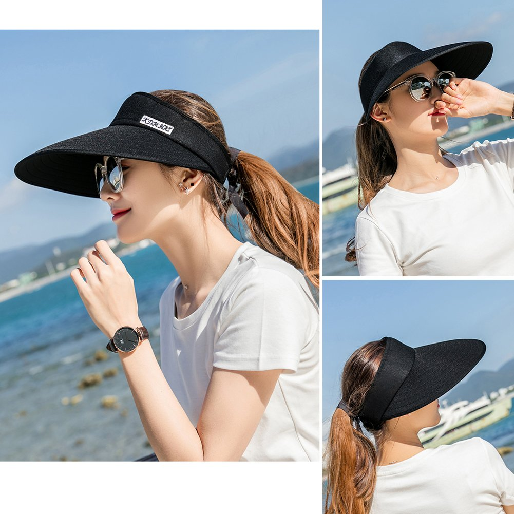 Sun Visor Hats Women 5.5'' Large Brim Summer UV Protection Beach Cap by CAMOLAND (Image #8)