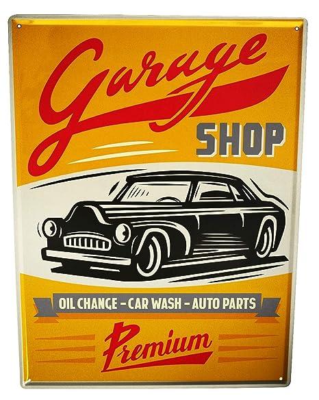 Cartel Letrero de Chapa Garage Diseño Cambio de aceite