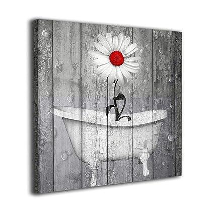 490d60687cc Art-Logo 12 quot x12 quot  Rustic White Daisy Flower Bubble Red Gray  Farmhouse Bathtub