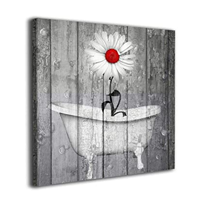33443593b3a Art-Logo 12 quot x12 quot  Rustic White Daisy Flower Bubble Red Gray  Farmhouse Bathtub