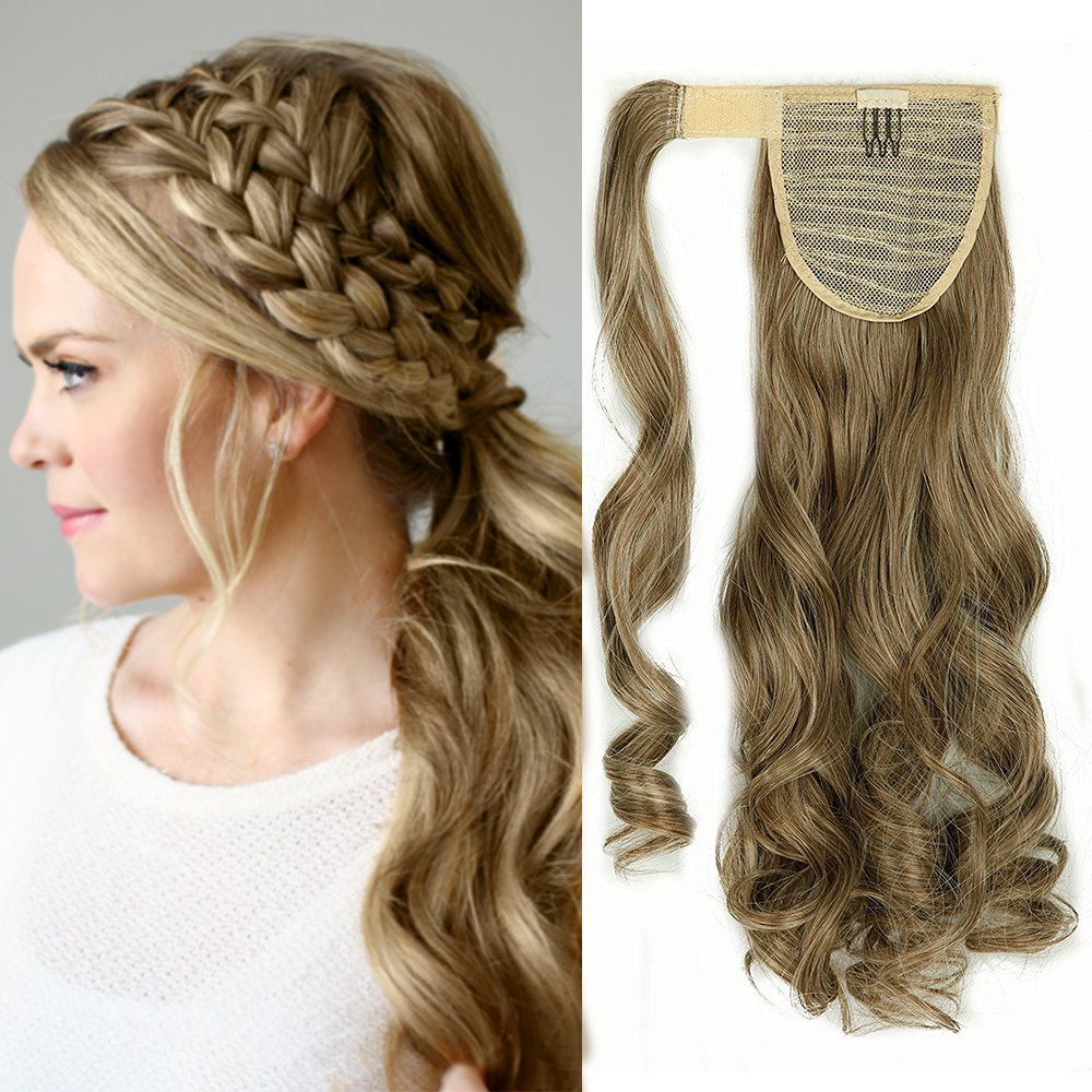 24(60cm) Coleta Postiza de Pelo Sintético Rizado con Clips Extensiones de Cabello Invisible y Natural Ponytail Hair Extension (100g, Castaño Chocolate) Lady Outlet Mall