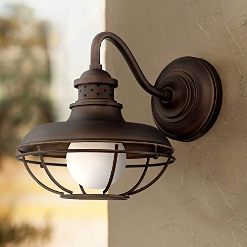 Franklin Park Rustic Farmhouse Outdoor Barn Light Fixture Oil Rubbed Bronze Open Cage 13″ White Glass Orb Diffuser