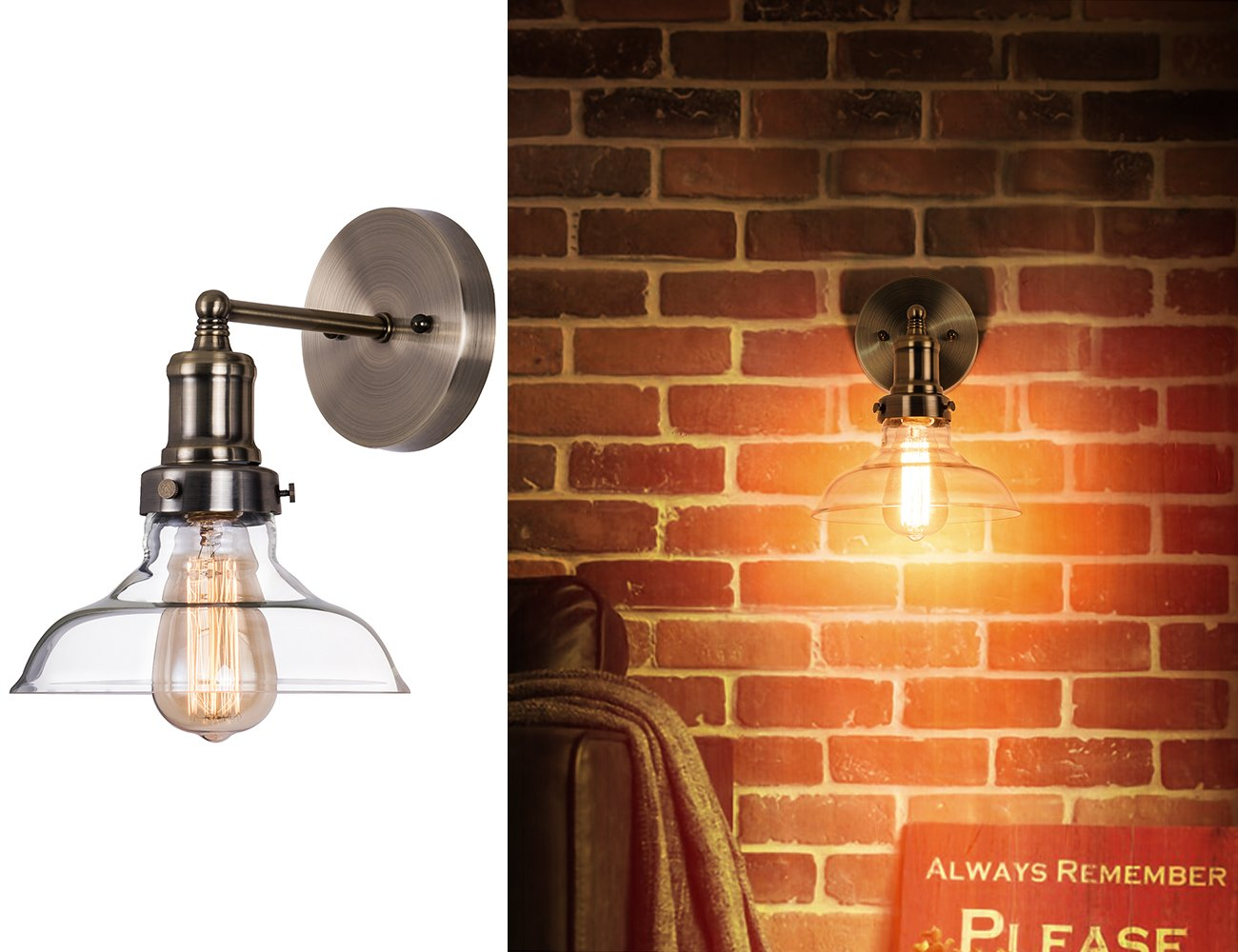 Industrial Clear Glass Wall Sconce Lighting,Antique Brass Nickel Fixture Wall Lamp Light for Bathroom,Hallway,Entry,Bar,Kitchen Sink by Lanros