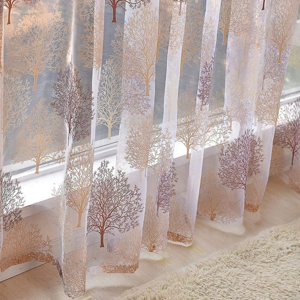 poetryer Cortina de Voile /Árbol Floral Voile Net Cortina Transparente 100 250 cm Cocina Sala de Estar Comedor Dormitorio Sala Sala