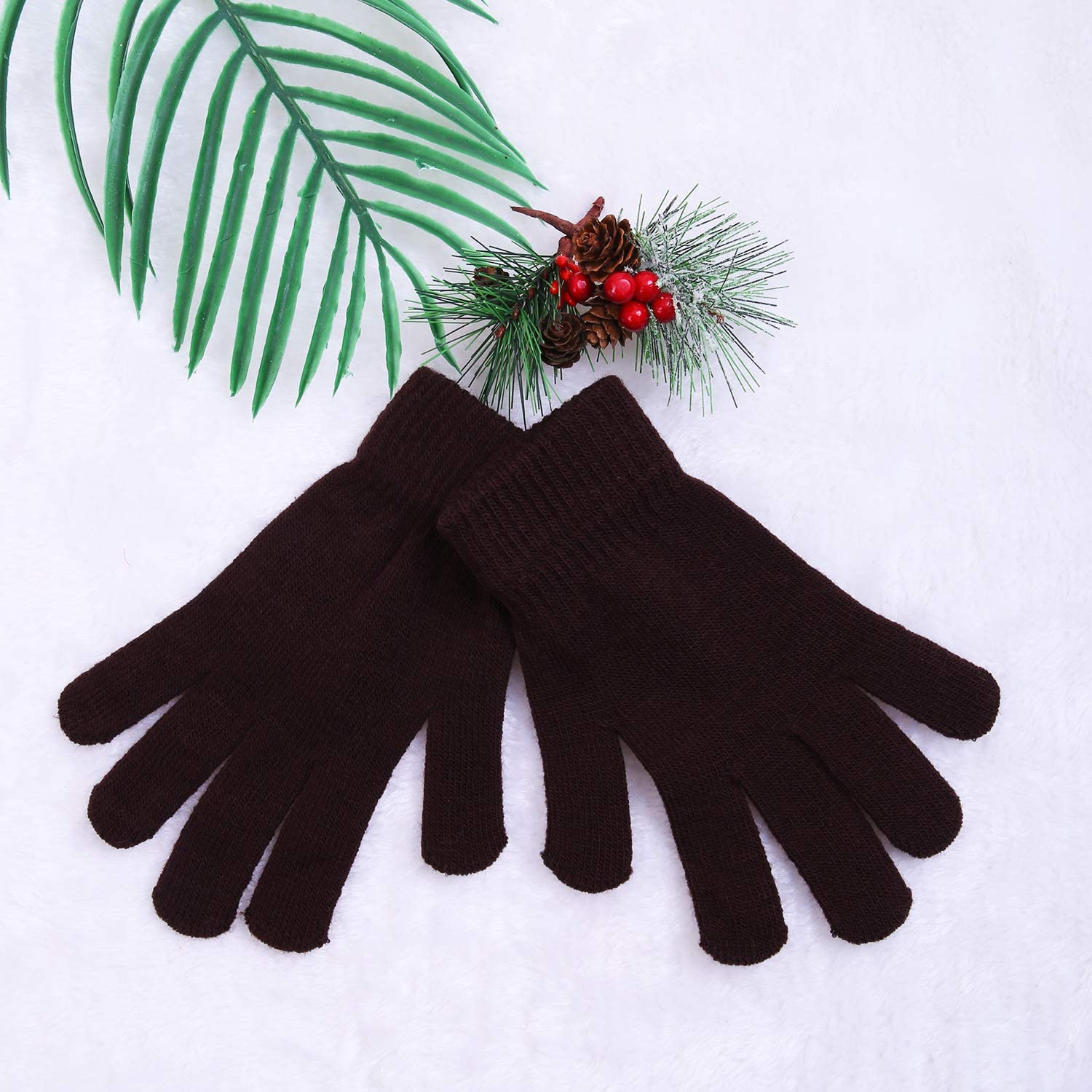 Women or Teens Cooraby 16 Pairs Adult Winter Knitted Magic Gloves Full Fingers Stretchy Warm Gloves for Men