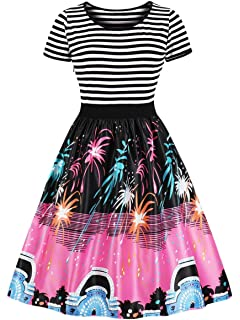 9fd28683164 RoseGal Fireworks Print Striped Panel A Line Dress Christmas Dresses Gift  Xmas Santa Print Ugly Party