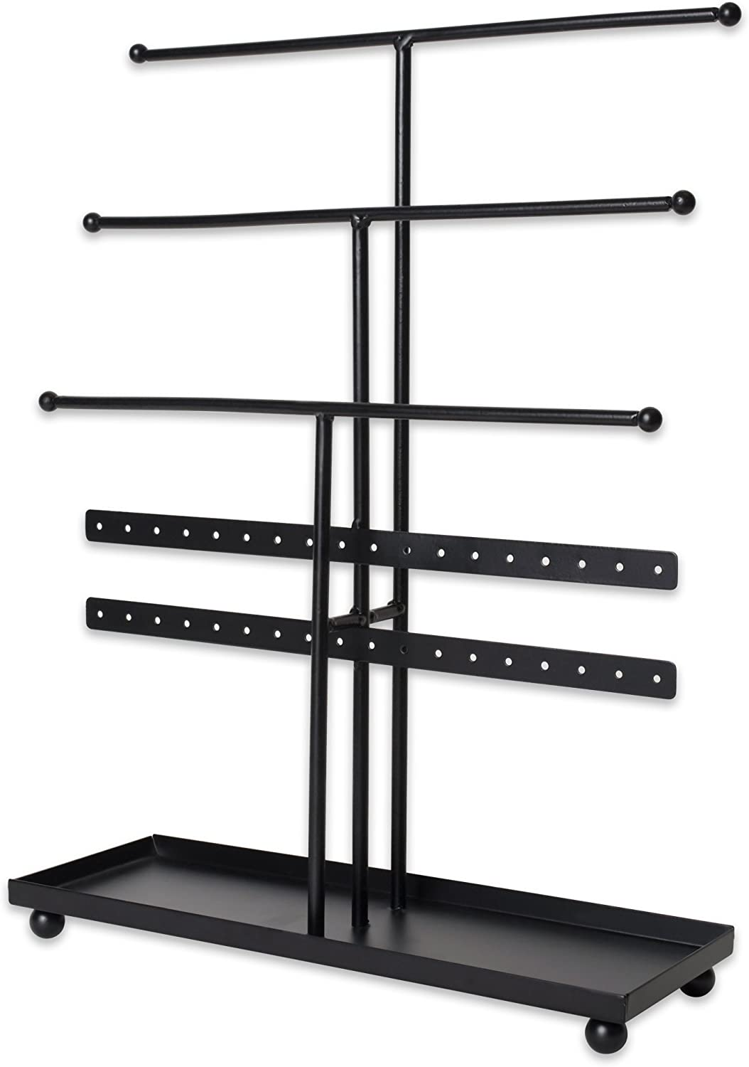 Home Traditions Z01647 Tree Tower, 3 Tier Metal with Modern Look and Jewelry Organization, Black