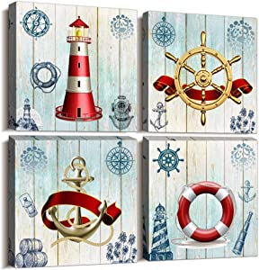 ocean theme steering wheel lighthouse ship pendant Canvas Prints bathroom Wall Art for Bedroom Wall decor Artworks Pictures wall decorations for living room,4 piece Home decor office wall paintings