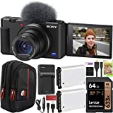 Sony ZV-1 Compact Digital Vlogging 4K HDR Video Camera for Content Creators & Vloggers DCZV1/B Double Battery Bundle…