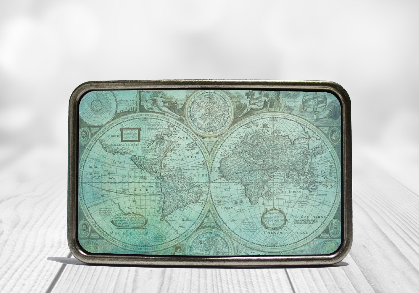 Teal World Map Belt Buckle