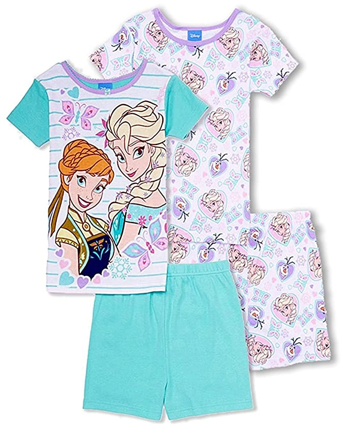 Disney Girls Frozen 4 Piece Cotton Anna & Elsa Pajama Set - Girls 4-10