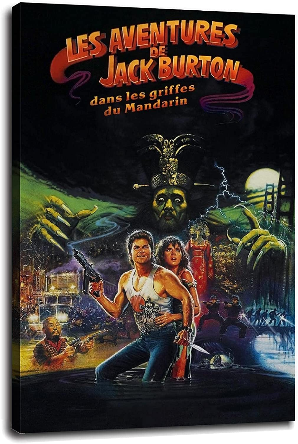 Big Trouble In Little China Lobby Card Movie Poster Canvas Prints Poster Wall Art For Home Office Decorations With Framed 12