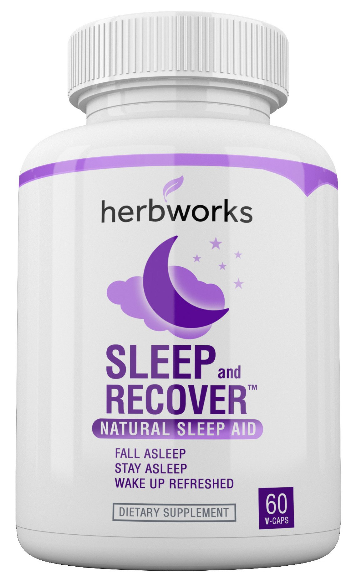 Sleep and Recover - Natural Sleep Aid - Non Habit Forming - 60 V-Capsules by HerbWorks (Image #1)