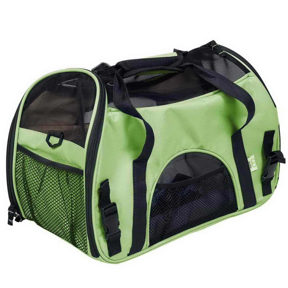 Green LargePet Carrier Soft Sided Pets Cat Carriers, Collapsible Portable Travel Dog Airplane Carrier for Small and Medium Cats Dogs Puppies (Up to 15lbs),bluee,M