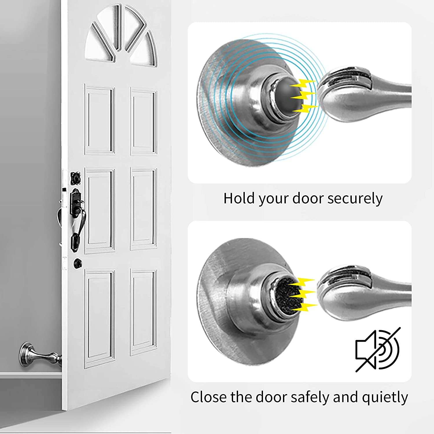 2 Pack Stainless Steel Magnetic Door Stop and Catch Include 3M Double-Sided Adhesive Tape and Mute Sticker for Keep Your Door Open and Wall Mount Door Holder Perfin Door Stopper