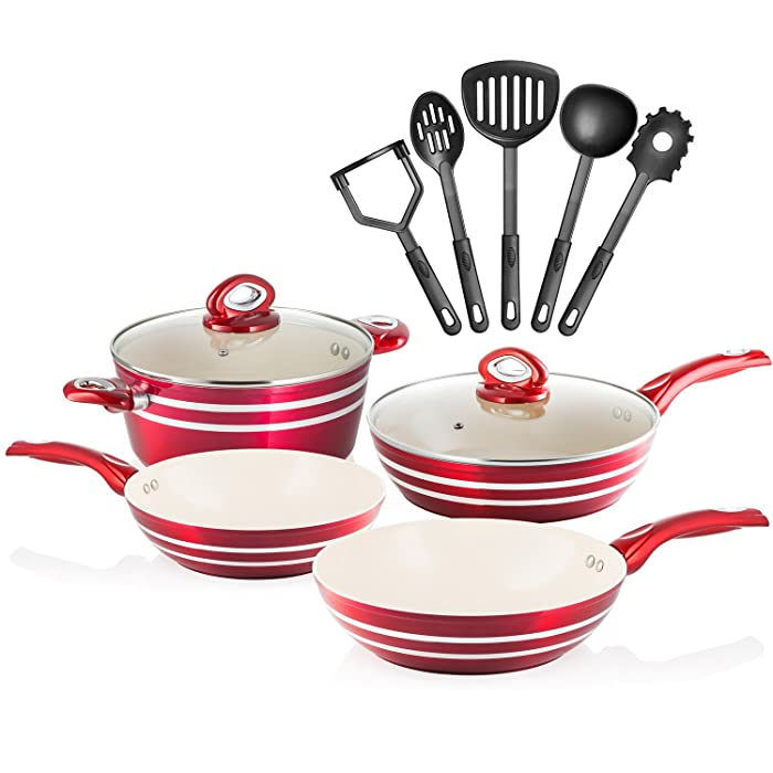 Chef's Star 11 Piece Professional Grade Aluminum Non-stick Pots & Pans Set - Induction Ready Cookware Set - Red/Cream