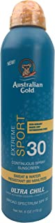 product image for Australian Gold Extreme Sport Continuous Spray Sunscreen SPF 30, 6 Ounce | Broad Spectrum | Sweat & Water Resistant | Non-Greasy | Oxybenzone Free | Cruelty Free