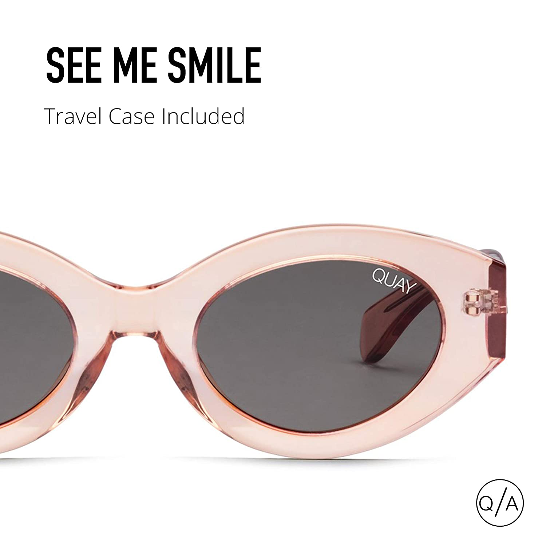 e3e55f0164 Amazon.com  Quay Australia SEE ME SMILE Women s Sunglasses Thick Frame  Cateye - Rose Smoke  Clothing