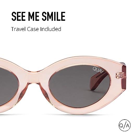4f5dea83db8 Amazon.com  Quay Australia SEE ME SMILE Women s Sunglasses Thick Frame  Cateye - Rose Smoke  Clothing