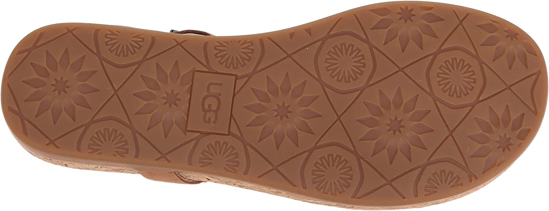 UGG Ayden II Almond Sandales Plates, Sandales en Cuir Marron, Sandales pour Femmes Marron