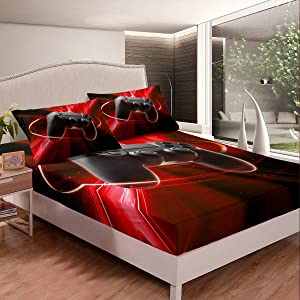 Games Sheet Set Full For Boys Kids Electronic Game Room Decor Bedding Set Gamer Console Pattern Gaming Fitted Sheet Girls Teens Adult Videogame Controller Printed Red Fitted Sheet Deep Pockets