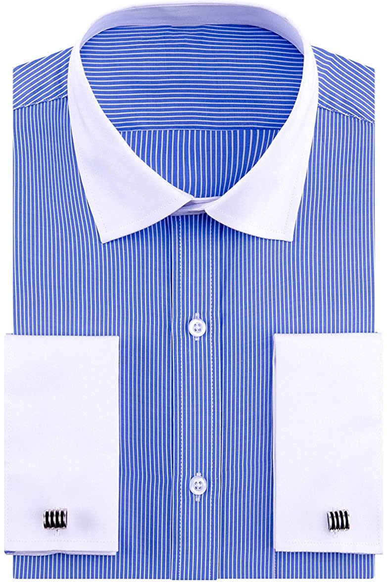 Vintage Shirts – Mens – Retro Shirts Alimens & Gentle French Cuff Regular Fit Contrast White Collar Stripe Dress Shirts (Cufflink Included) $19.99 AT vintagedancer.com