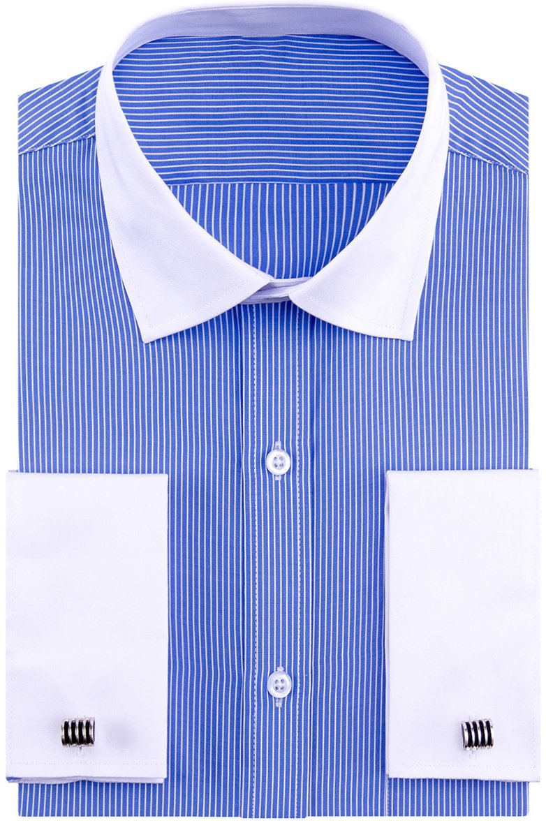 Alimens & Gentle French Cuff Regular Fit Contrast White Collar Stripe Dress Shirts (Cufflink Included)