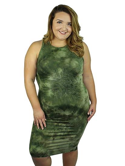 703d1a1e02c Luxury Divas Green Tie-Dye Racerback Plus Size Dress at Amazon ...