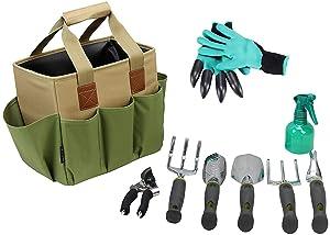 Gardening Tools Set | Garden Tools Kit | Gardening Gloves | 9 Piece Garden Tool Set | Digging Claw Gardening Gloves Gardening Gifts Tool Set | Planting Tools | Gardening Supplies Basket | Rake Gloves