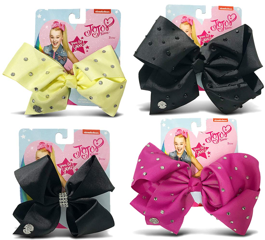 Warp Gadgets Bundle - JoJo Siwa Berry, Black Center Loop Rhinestone, Black with Pearls and Light Yellow Signature Bows with Rhinestones (4 Items)