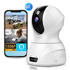 SereneLife Indoor Wireless Security Camera - Alexa Compatible - 3MP Face Detection Smart Tracking PTZ - Ultra HD 1536p Wireless Home Security Pet Monitoring w/ Motion Detect, Night Vision Video