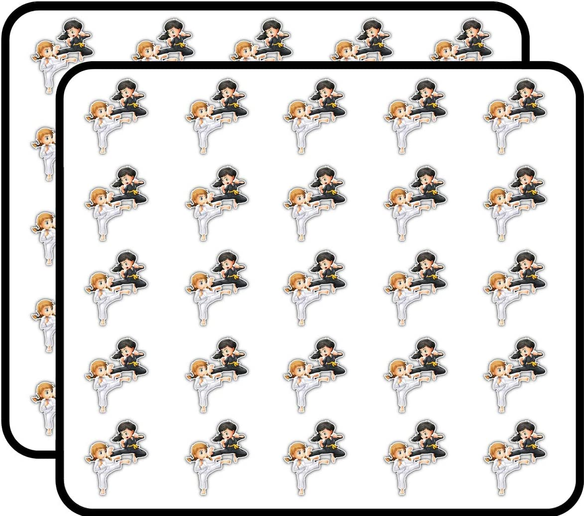 Karate Girls Fight Sticker for Scrapbooking, Calendars, Arts, Kids DIY Crafts, Album, Bullet Journals 50 Pack