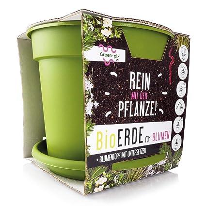 Maceta Green-PIK LAT con platillo + tierra biológica para flores ...