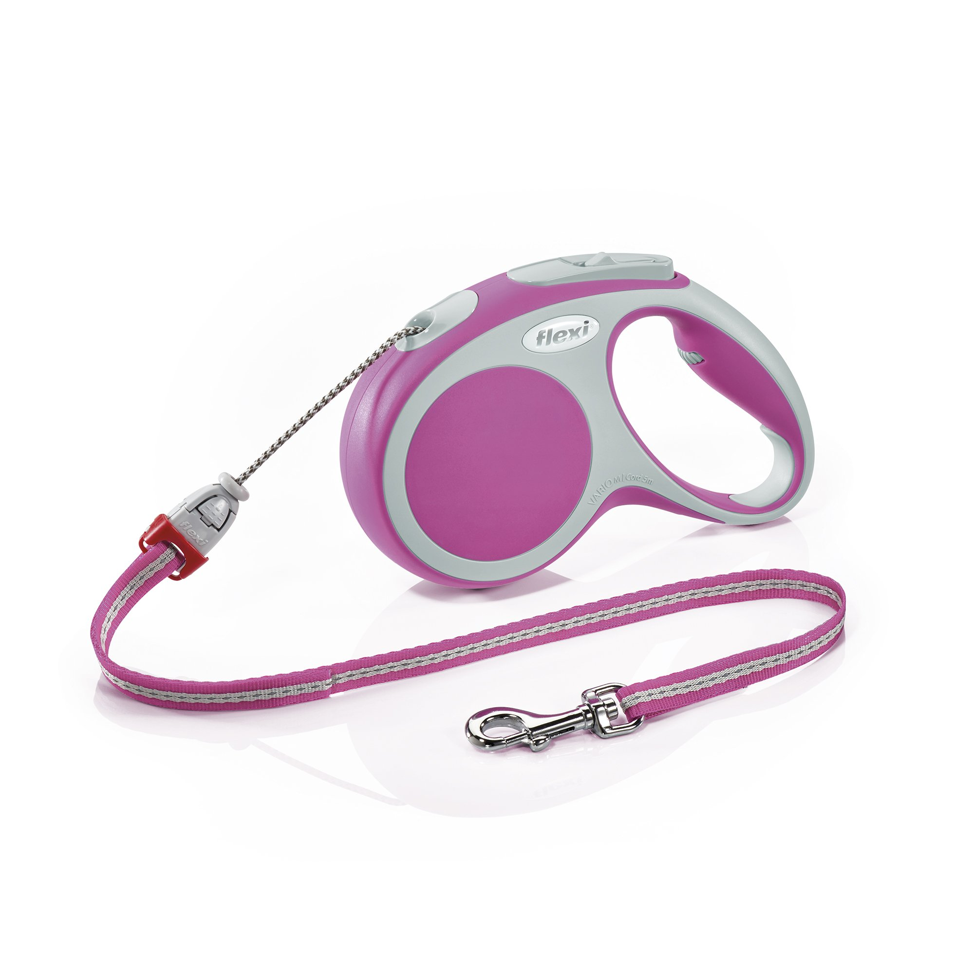 Flexi Vario Retractable Dog Leash (Cord), 16 ft, Medium, Pink by Flexi
