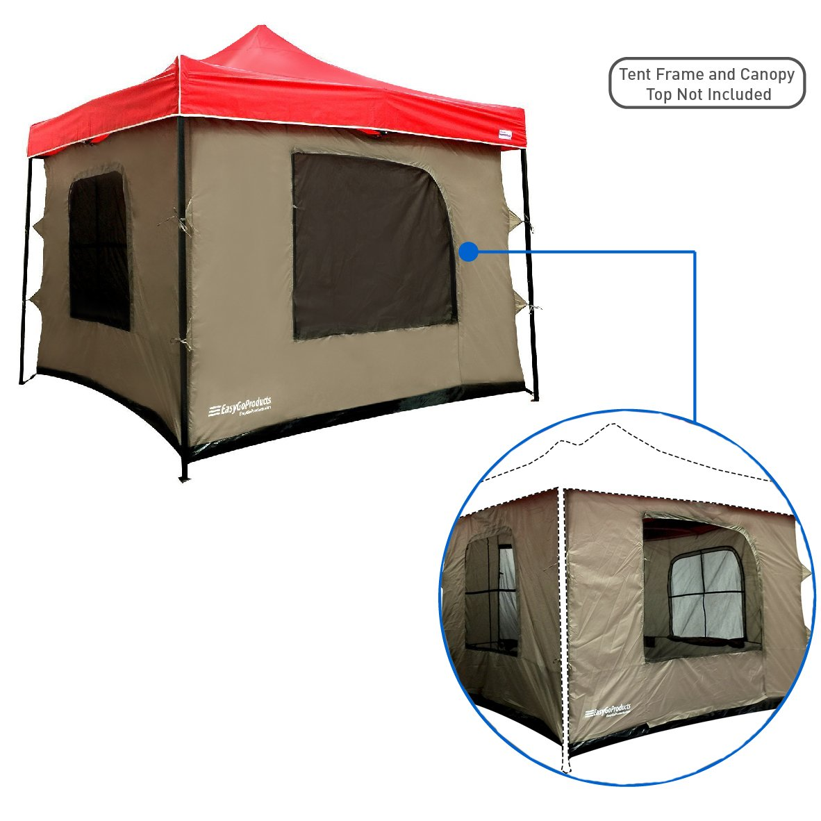 Camping Tent attaches to any 10'x10' Easy Up Pop Up Canopy Tent with 4 Walls, PVC Floor, 2 Doors and 4 Windows - Vented Roof - Standing Tent - Family Room Tent - TENT FRAME AND CANOPY NOT INCLUDED