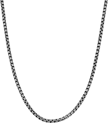 1.7mm Sterling Silver 20 INCH Oxidized Curb Rope Chain