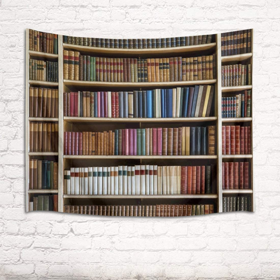 HVEST Library Tapestry Books on Wooden Shelf Wall Hanging Modern Bookshelf Tapestries for Bedroom Living Room Dorm Wall Decor,92.5Wx70.9H inches