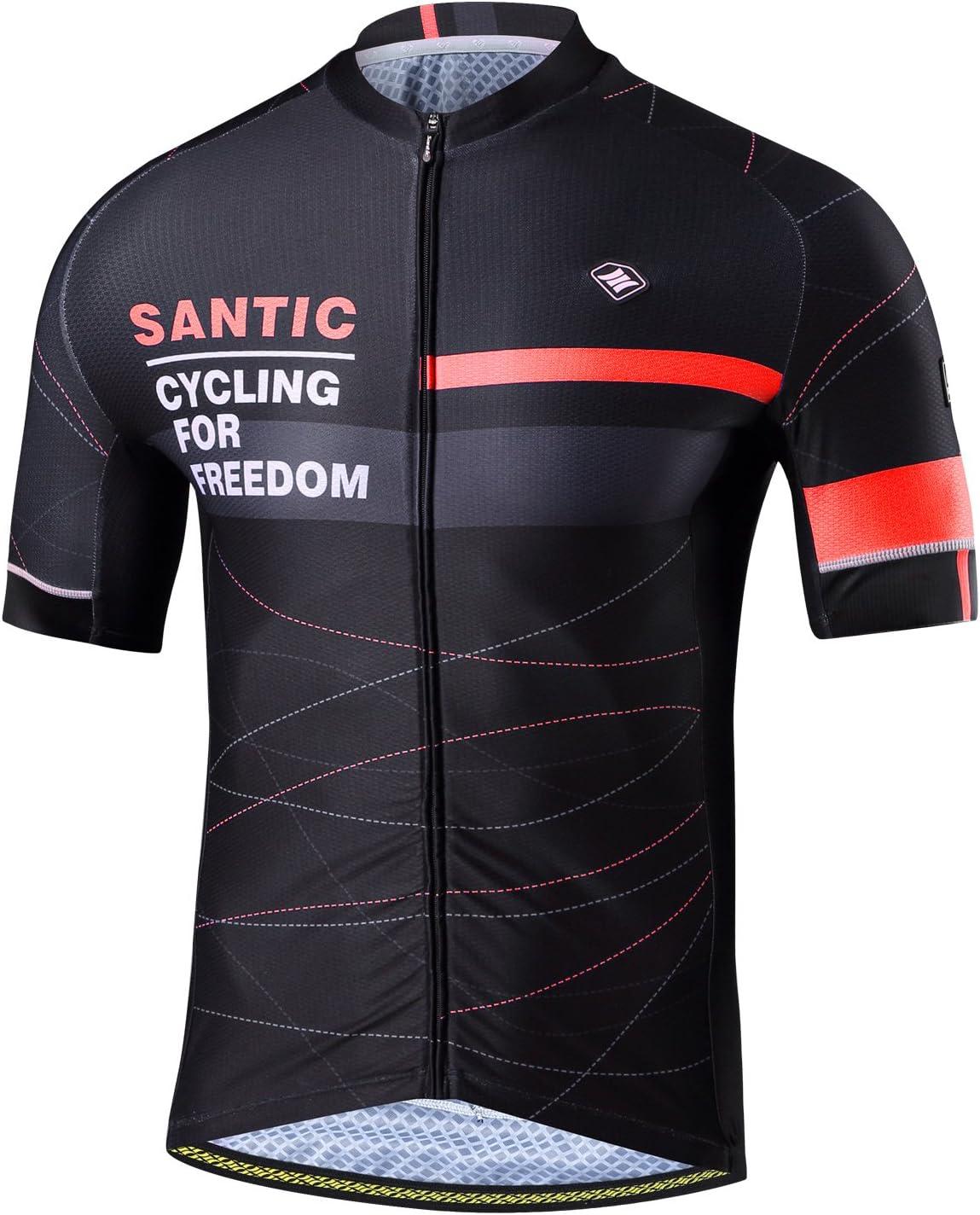 Santic Maillot Ciclista Hombre Top Ciclismo Bicicleta Bici Transpirable Secado Rápido Reflectante Jersey Ciclista Yorkson