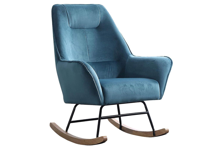 SuenosZzz-Sillon para Lactancia, Sillón balancin Benz, Butaca Mecedora tapizada en Tela Color Azul.Sillon Relax Gran Confort.